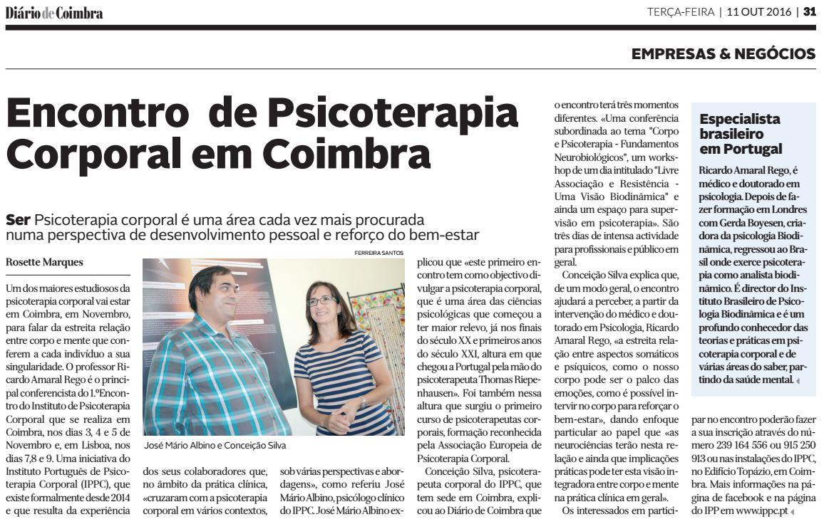 In Diário de Coimbra, edição de 11 Outubro de 2016