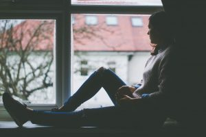 window view, sitting, girl